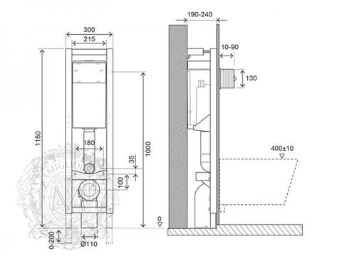 Система инсталляции для подвесного унитаза Migliore Quadra с возможностью установки в угол (крепление стена-пол, без кнопки) H1150xL300xP190/240 mm схема