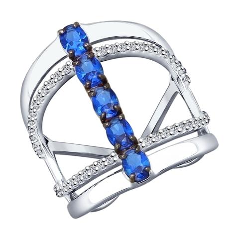 94012144 - Кольцо из серебра с синими фианитами