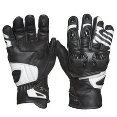 Мотоперчатки кожа Sweep Forza, чёрный/белый