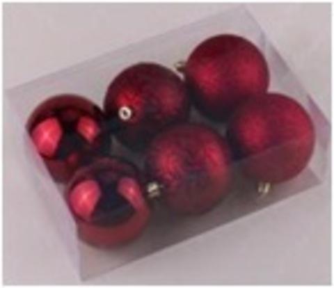Набор шаров 6шт 8см бордовый с орнаментом SY18ST-224