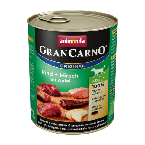 Animonda GranCarno Original Adult Консервы для собак с говядиной, олениной и яблоком (Банка)