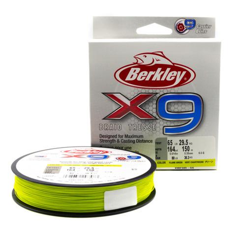 Плетеная леска Berkley X9 150 м. Ярко-зеленая 0,35 мм. 36,3 кг. (1486854)