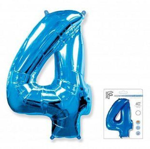 Цифра четыре - синий