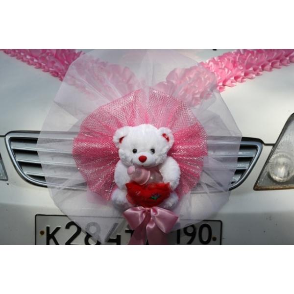 Бант на радиатор с мишкой розовый