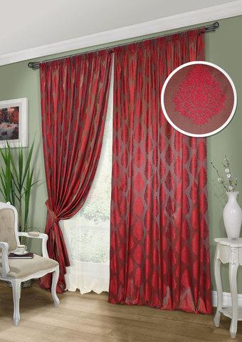 Комплект штор и тюль Stefani темный красный