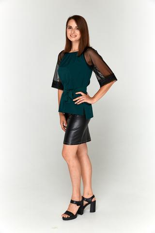 Темно-зеленая блуза Lolly с прозрачными рукавами.