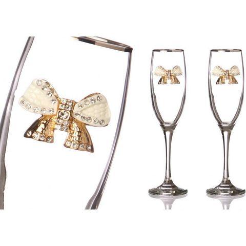 Набор бокалов для шампанского из 2 шт. с серебренной каймой 170 мл
