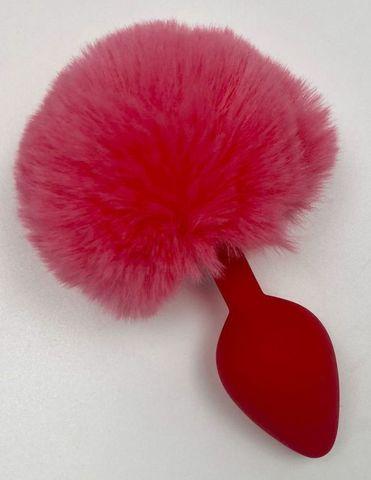 Красная анальная пробка с пушистым хвостиком зайки