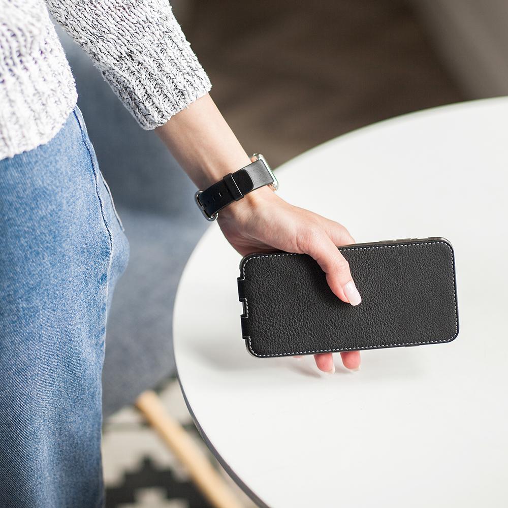 Чехол для iPhone 11 Pro Max из натуральной кожи теленка, черного цвета