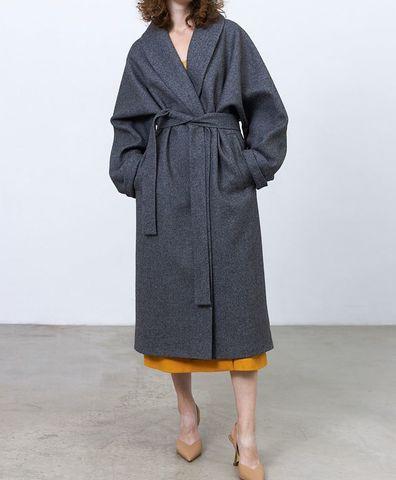 Пальто с комбинированным рукавом, цвет графит