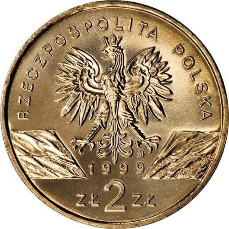 2 злотых Волк (животный мир) 1999 год, Польша. UNC
