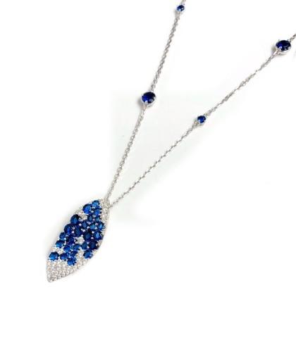 91621- Колье GIARDINI из серебра с подвеской в форме лепестка c синими цирконами