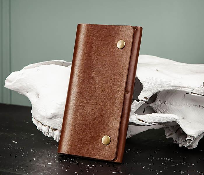 WB185-2 Тонкий клатч из коричневой натуральной кожи