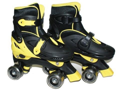 Коньки роликовые 4-х колёсные раздвижные, рама алюминий, колёса PU, подшипник ABEC-7  Размер S (р. 31-34). 905-S