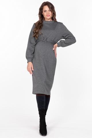 Утепленное платье для беременных 11243 серый