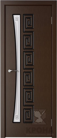Дверь Крона Греция, стекло матовое с рисунком, цвет венге, остекленная