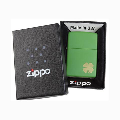 Зажигалка Zippo Shamrock с покрытием Moss Green Matte, латунь/сталь, зелёная, матовая