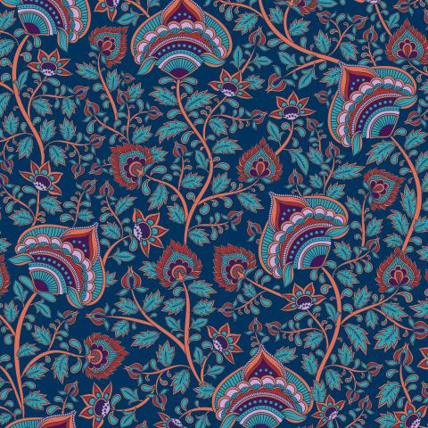 Цветочные переплетающиеся ветви на синем фоне.  Индийский стиль. (Дизайнер Irina Skaska)