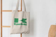 Сумка-шоппер с принтом Кавасаки (Kawasaki) бежевая 009