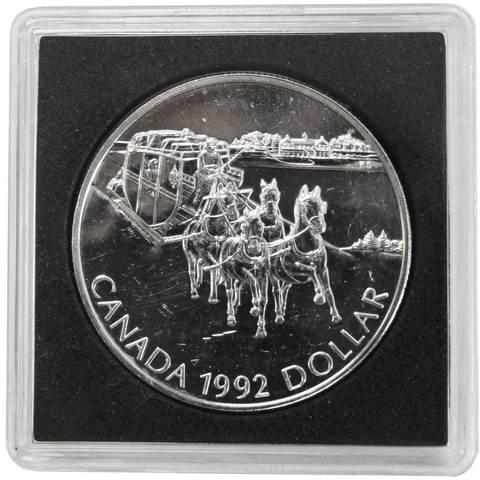 1 доллар. 175 лет Кингстонскому дилижансу. Канада. 1992 г. BrUNC Серебро. В оригинальной квадрокапсуле