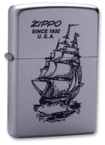 Зажигалка Zippo Boat-Zippo с покрытием Satin Chrome, латунь/сталь, серебристая, матовая, 36x12x56 мм123