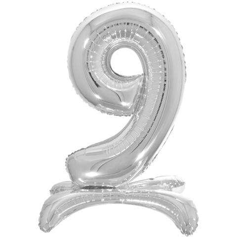 9 Цифры на подставке на пол, Серебро, 81 см