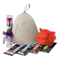 Подарочный Банный набор (шапка, мыльные цветы «Роза», мочалка, бальзам, шампунь, гель, мыло)
