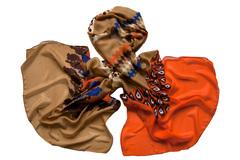 Палантин коричнево-оранжевый 0504