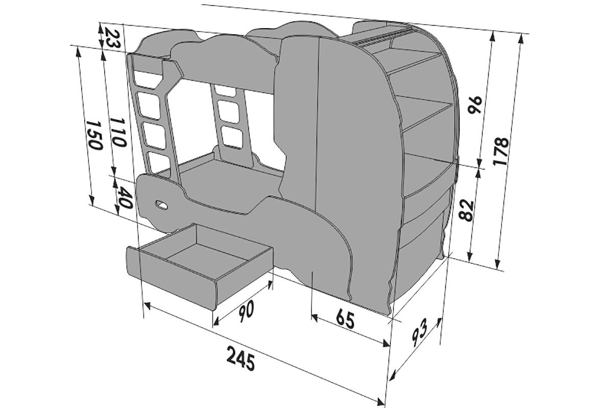 """Двухъярусная кровать машина """"Скания+2"""" лайм"""