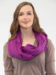 Шарф женский фиолетовый aksisur теплая пашмина 015