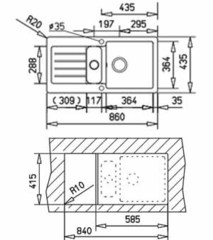 Мойка кухонная TEKA Kea 60 B-TG Карбон - схема
