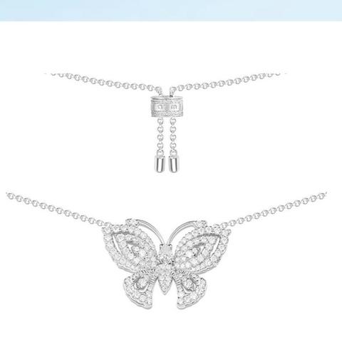 Колье из серебра с бабочкой на затяжке в стиле APM MONACO