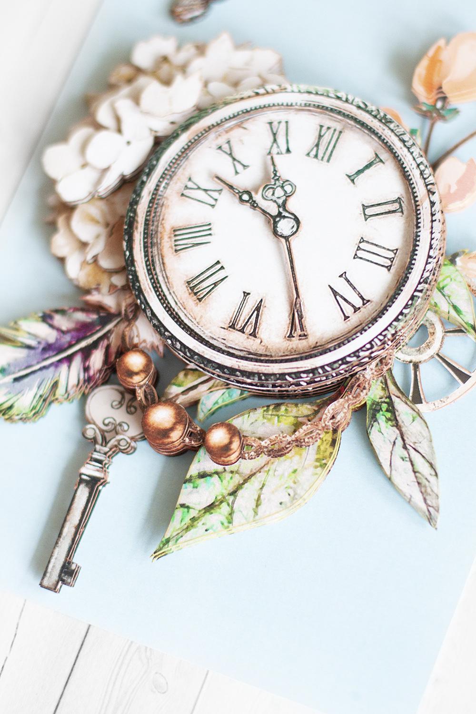 Папертоль Нежная серия: бабочка и часы - готовая работа, вид снизу