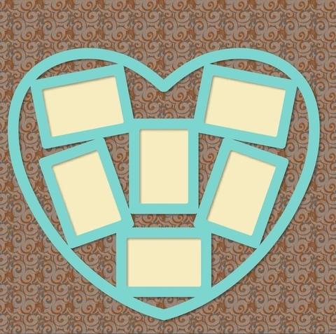 Фоторамка ДекорКоми из дерева Коллаж Сердце на 6 фото