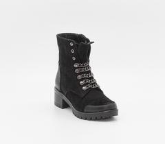 Ботинки из натурального нубука на устойчивом каблуке