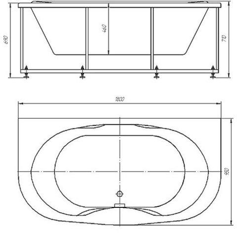 Ванна акриловая Aquatek Мелисса  180х95 см на каркасе и сливом-переливом схема