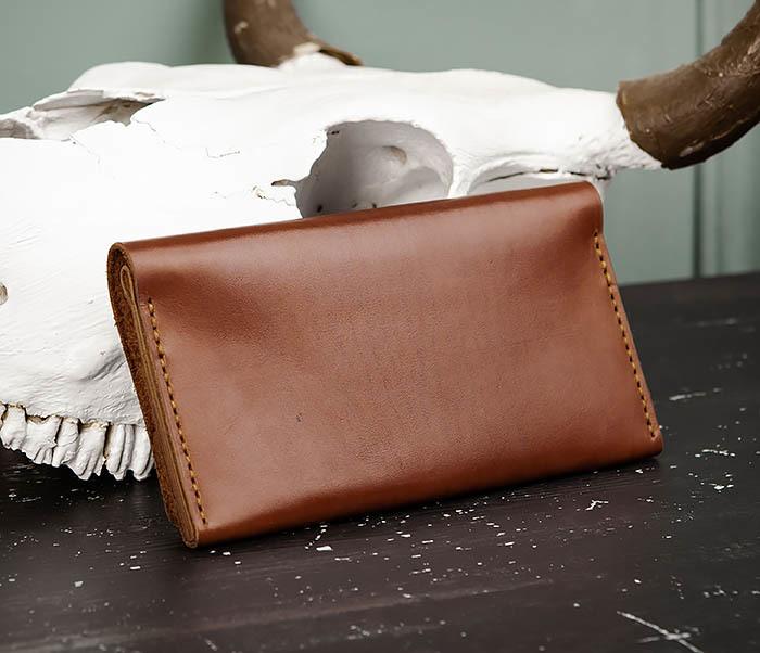 WB185-2 Тонкий клатч из коричневой натуральной кожи фото 05