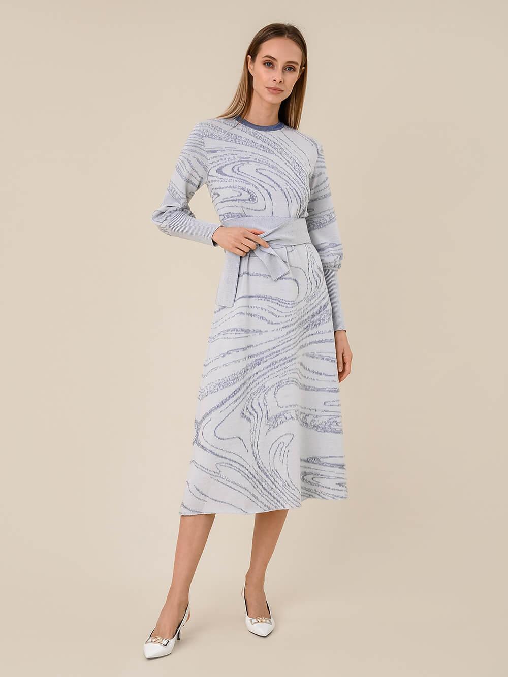 Женское платье молочного цвета из шерсти и вискозы - фото 1