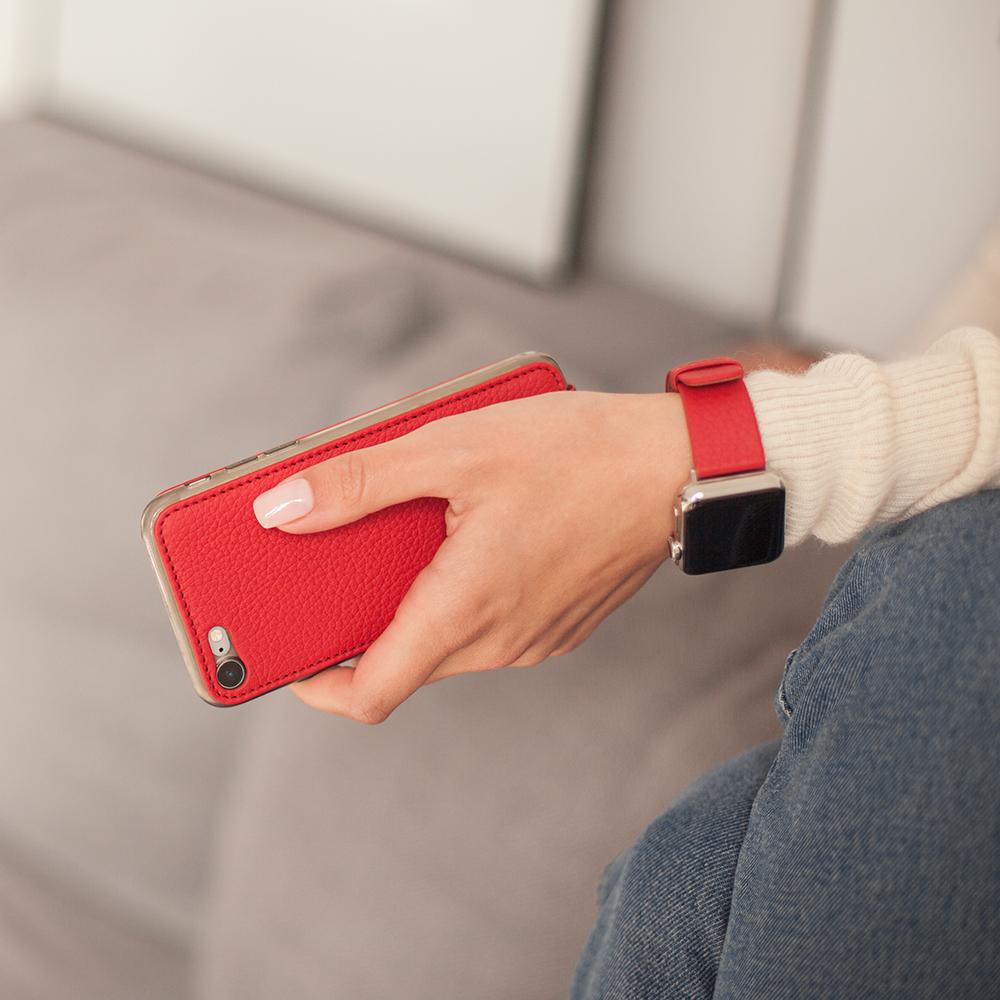 Чехол для iPhone SE/8 из натуральной кожи теленка, красного цвета