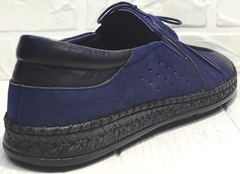 Мужские мокасины из натуральной кожи street casual Luciano Bellini 91268-S-321 Black Blue.