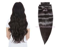 Натуральные волосы на заколках тон 1С очень темно-коричневый