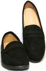Черные туфли лоферы женские. Замшевые туфли на плоской подошве Comer Collection - Suede Black.
