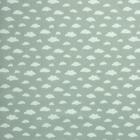 Ткань хлопковая белые облачка на сером, отрез 50*80 см
