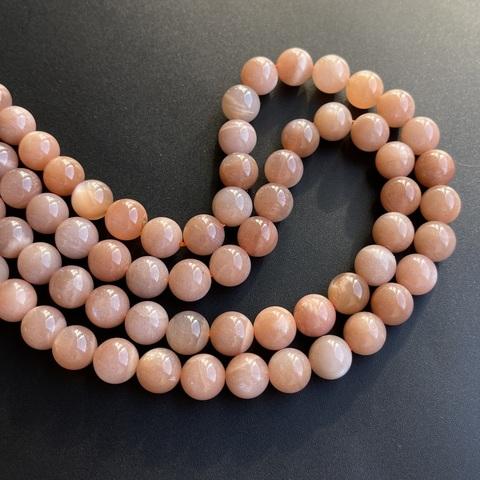 Бусины лунный камень персиковый А шар гладкий 10 мм
