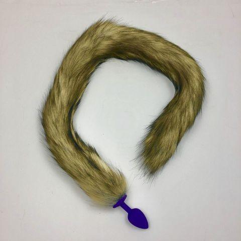 Фиолетовая анальная пробка с длинным лисьим хвостом
