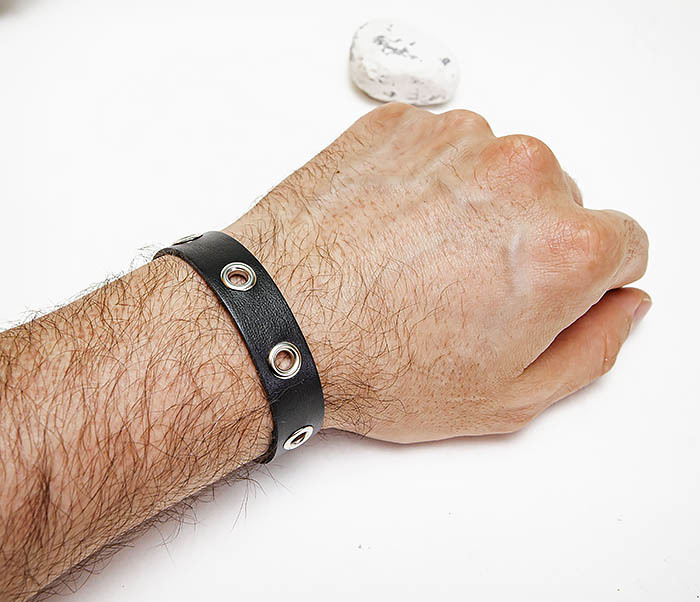 BL797-1 Мужской браслет полоска из черной кожи фото 07