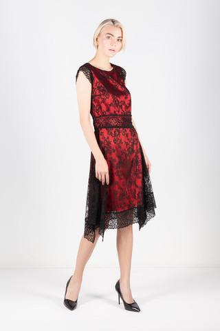 Фото двухслойное платье алого цвета с кружевом - Платье З428-223 (1)