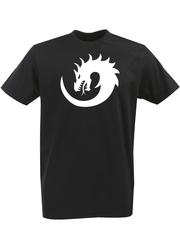 Футболка с однотонным принтом Дракон (Dragon) черная 001