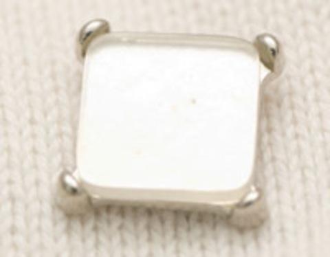 Пуговица квадратная, со стеклом внутри, белая, на ножке, 13 мм