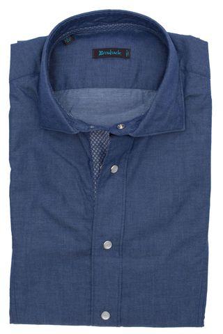 Синяя рубашка со стеклянными белыми пуговицами-кнопками и шикарной верхней голубой
